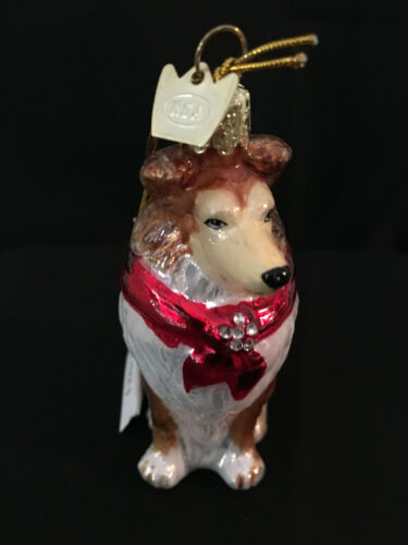 Kurt Adler Noble Gems Glass Sheltie with Red Crystal Scarf Christmas Ornament