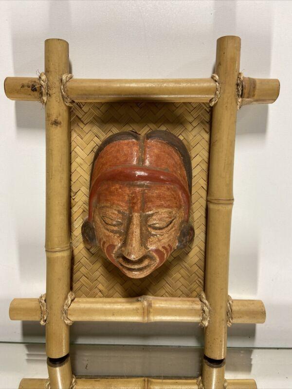 MASK Face AZTEC MAYAN INCA MASK MEXICAN CLAY POTTERY FOLK ART Wall Decor.