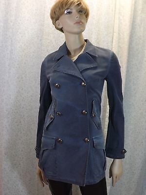 NWT PRADA BLUE GRAY DENIM SILVER LOGO BUTTONS  TRENCH JACKET COAT 40 4 ITALY