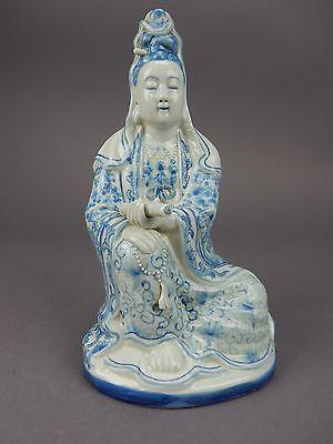 ANTIQUE Chinese Blue & white  Kwan-yin Guan Yin Statue Museum Quality !!!