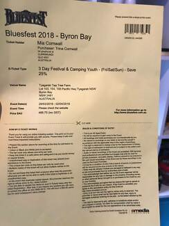 Byron Bay Blues Fest Ticket Youth Camping 30/03/18 - 01/04/18