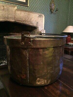 Vintage large brass pot cauldron planter jardiniere storage 45cm Winchester