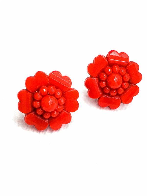 Antique Bohemian red Czech glass molded flower screw back earrings