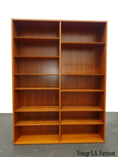 Vintage Poul Hundevad Danish Mid Century Modern Double Bookcase made in Denmark