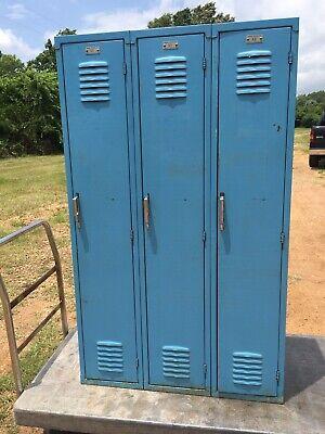 Yellow Red Or Blue Old Vintage Metal Steel Lockers School Gym Athletic Antique