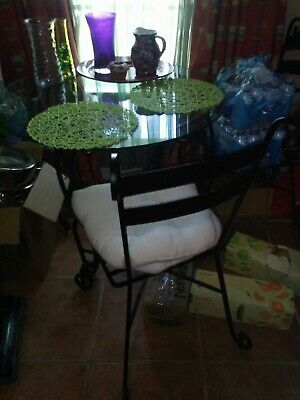 Dining Table Set - Table & 3 Chairs - Pier One 35 1/2 x 36 inches Round Blk. 1 Inch Dining Table Set