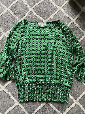 MICHAEL KORS Womens Medium Green Navy Blue Smocked Waist Blouse Roll Sleeve GUC Michael Kors Womens Blouse
