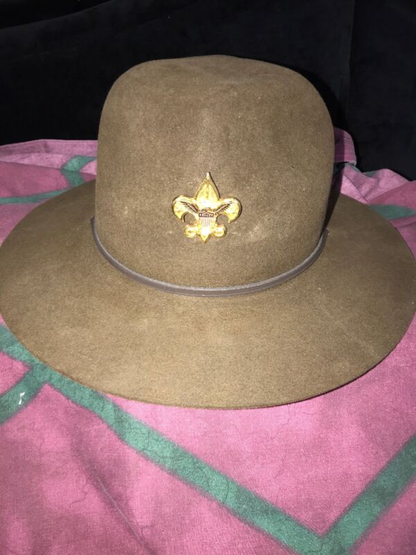 Vtg 50-60s Boy Scouts of America Scoutmasters Leaders Camp Hat+13 Stars Pin 501