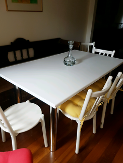 White Rectangular Kitchen Dining Table With 6 White Chairs!!!!