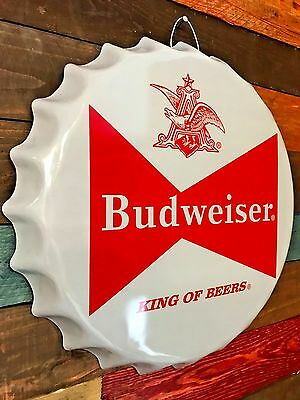 Retro Budweiser Beer Bow Tie Logo Metal Sign  Wall Decor Game Room Man Cave Bar