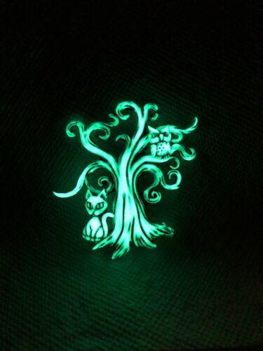 Neil Eyre Designs Glow in Dark Halloween Tree Kitty Cat Owl Kitten Magnet