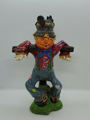 Vtg Handmade Ceramic Halloween Figure Pumpkin Head Scarecrow Man On A Post 1985