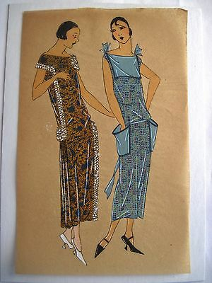 Exceptional Original Illustration of 1920's Women's Fashions - Gouache Paint *
