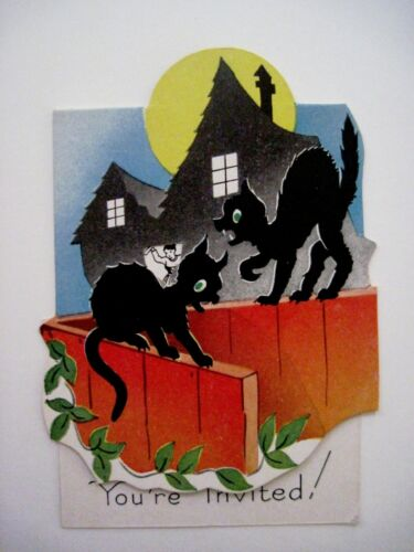 """Scary Vintage """"Halloween"""" Invitation Card-Two Black Cats On Orange Fence(A)*"""