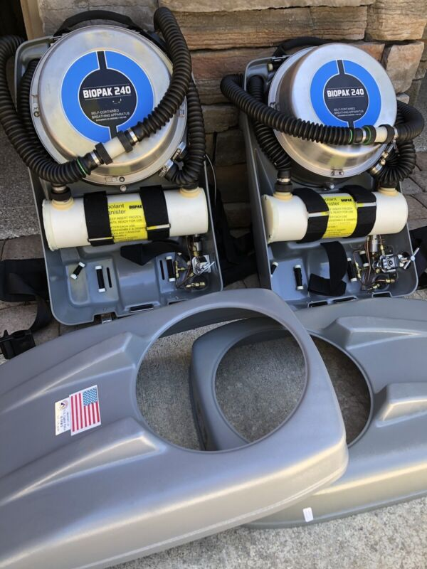 Two Biomarine Biopak 240 SCBA 4 Hour Escape Rescue Rebreathers