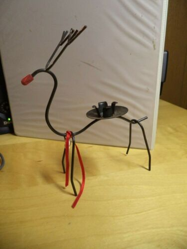 Vintage OLD BLACK METAL REINDEER CANDLE HOLDER RED NOSED Rudolph 7 inches tall