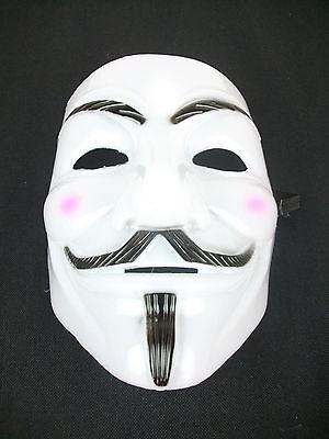 V Mask White for Vendetta Anonymous Guy Fawkes Halloween