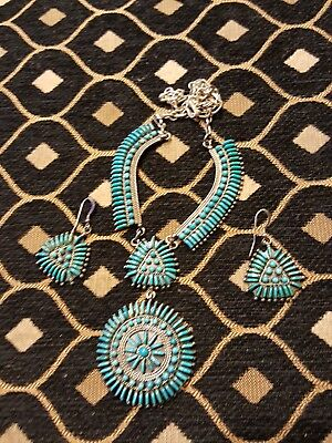 Zuni Squash Blossom Necklace Earrings Set Sterling Turquoise