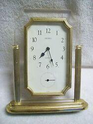 Vintage 1970's Seiko Brass & Lucite Quartz Desk Clock with Separate Second Hand