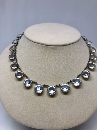 Art Deco Riviere Sterling Silver Necklace Paste Rhinestone Crystal Stone Vintage