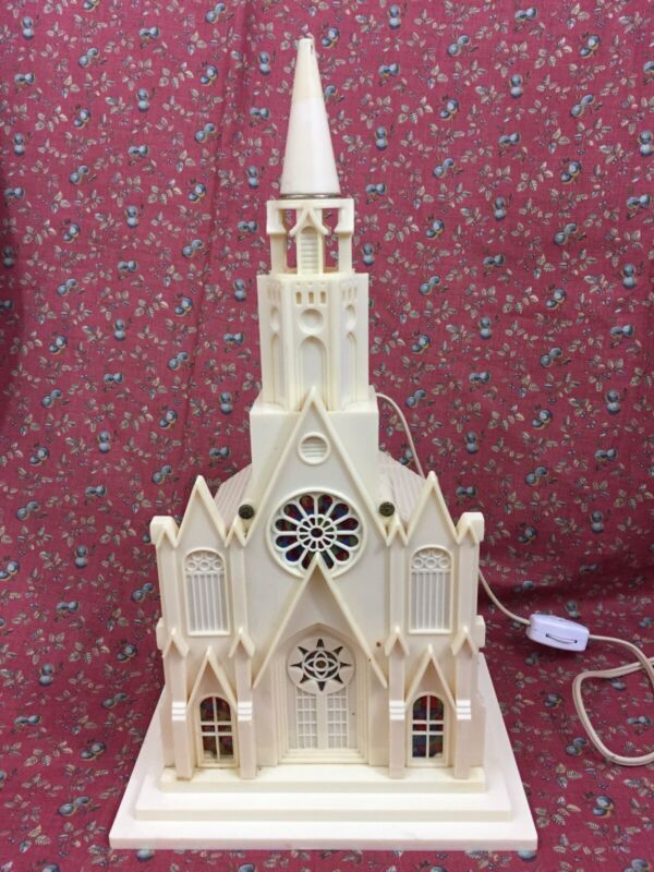 """VTG Raylite Electric Co. 13"""" Plastic Church Cathedral Light Up Music Box WORKS"""