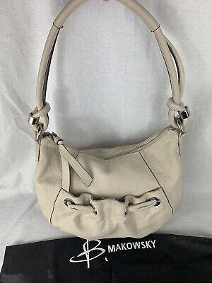 B. Makowsky Cream Color Smooth Leather Hobo Handbag Tote Shoulder-Bag Large