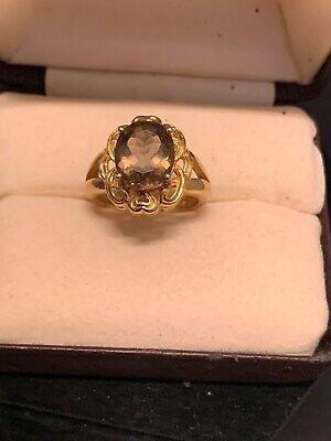 Gold Over Sterling Genuine Amethyst Ring Size 6 1/2  925 Silver HSN Collection