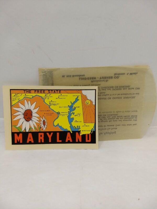 Vintage MARYLAND Lindgren Turner water slide decal luggage window car rat rod