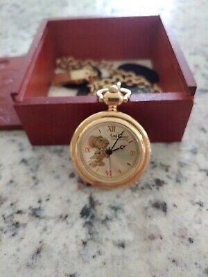 Disney Rare Limited Golden Jiminy Cricket Fossil Pocket Watch In Box #2189