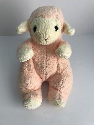 "Ty Pluffies Pink Lamb Sheep Peach Rattle Lovey Soft Plush 1999 12"""