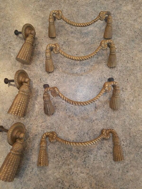 Vtg Ornate Rope Tassel Drawer Pull Handle Set Shabby French Victorian Brass