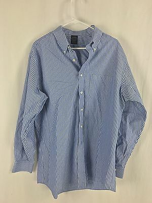 Brooks Brothers Men's Blue White Striped Button Down Dress Shirt Size 17 1/2