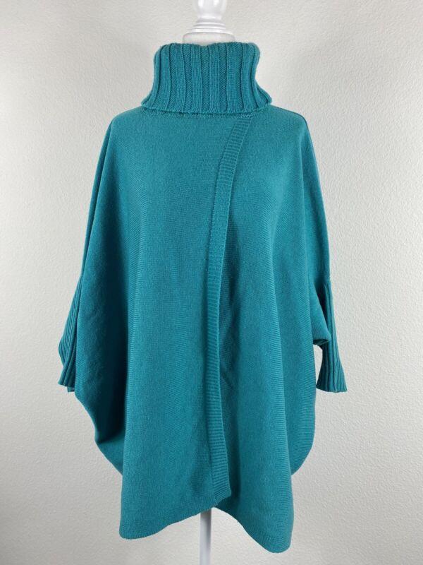 Diane Von Furstenberg Women Front Slit Back Slit Blue Turtleneck Sweater M/L