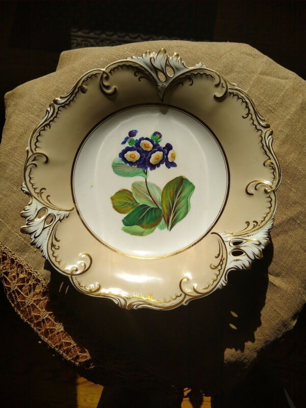 Antique OLD PARIS PORCELAIN FOOTED HAND PAINTED CAKE PLATE