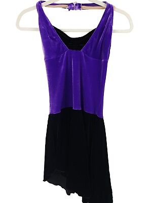 Purple/Black Leo Dress Velvet Halter Dance Costume - Women's Adult Small