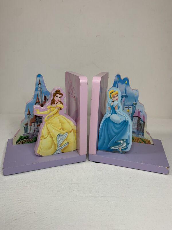 Vintage Disney Princess Bookends Belle & Cinderella Wooden Kids Room Decor - #2
