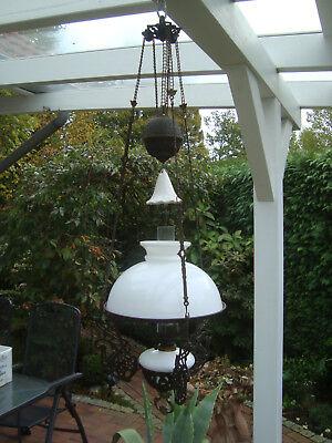 Alte Majolika Petroleumlampe Hängelampe original Jugendstil 1920