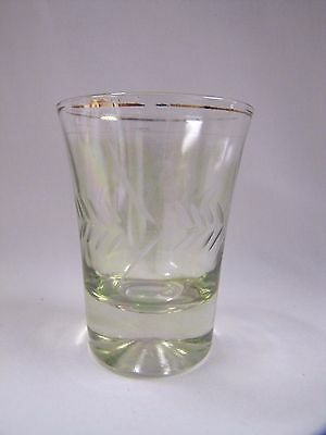 Etched Shot Glass Pale Green Tinted Laurel Design Vintage