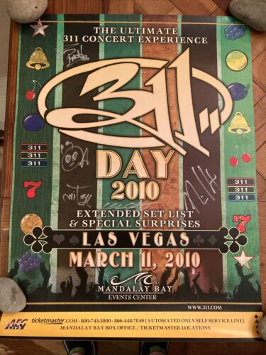 311 Day band signed poster 2010 Las Vegas autographed