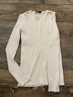 The Row Size Medium Cream Long Sleeve Silk Blend Long Sleeve Cut Outs Top