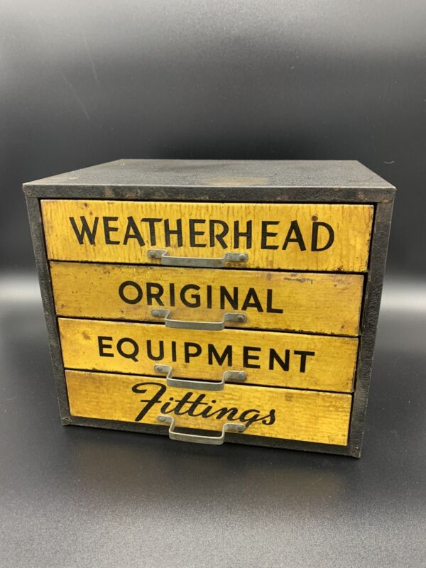 Vintage Metal WeatherHead 4 Draw Storage Cabinet For Parts And Fittings