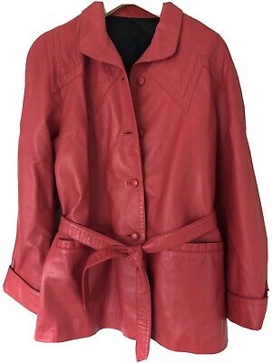 Women's Retro 90's Style Leather Jacket Coat Deep Pink/red Colour Size 12