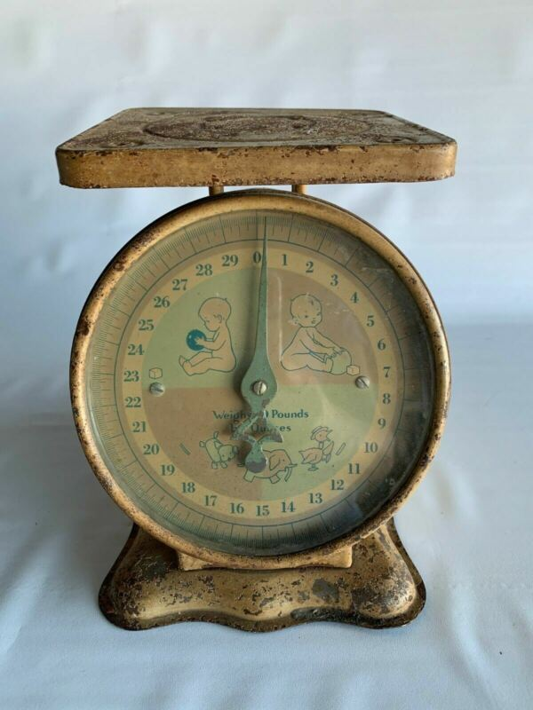 Vintage Baby Nursery Scale Newborn Decor Old 30 Lbs Antique Photography Prop