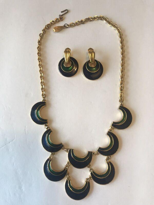 Vintage FLORENZA Necklace Earring Set Blue Green