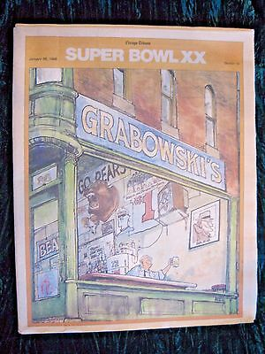 Vintage Bears Super Bowl Xx Patriots Chicago Tribune Newspaper