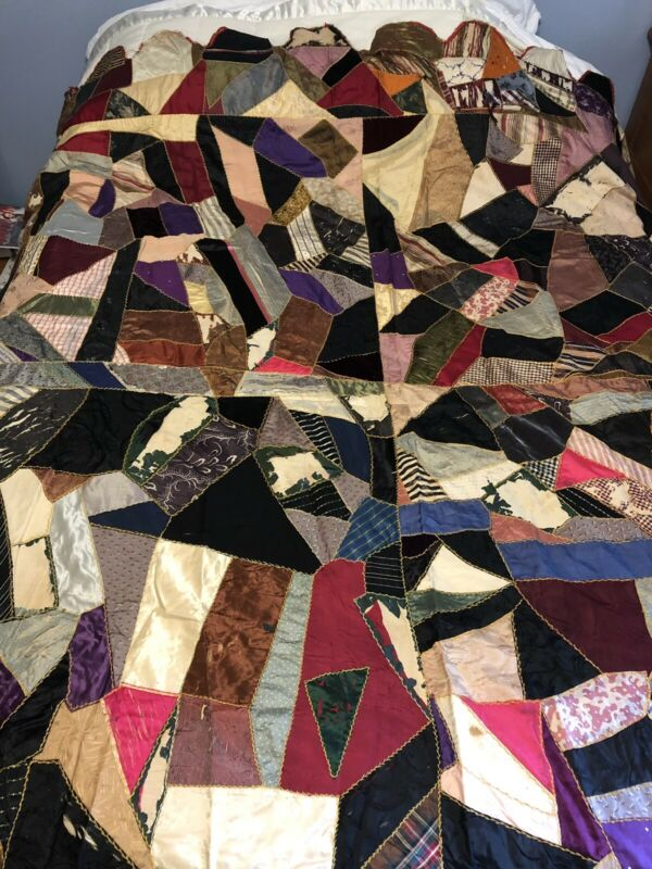 Antique Crazy Quilt Filled With Textiles As Is