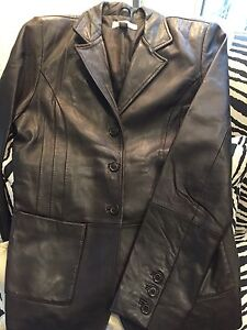 Women's brown Genuine Leather  blazer style jacket