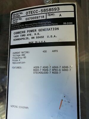 Cummins Onan - Otec Automatic Transfer Switch 400 Amp