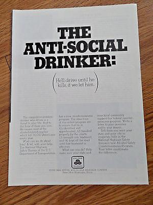 1970 State Farm Insurance Ad The Anti Social Drinker He Drive Until He Kills