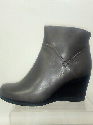NEW grey leather ankle boots with wedge size 37 Hand Made in Italy by Khrio